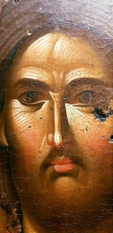 Христос Пантократор. Византийская икона XIV века. Фрагмент.