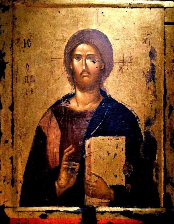 Христос Пантократор. Византийская икона XIV века.