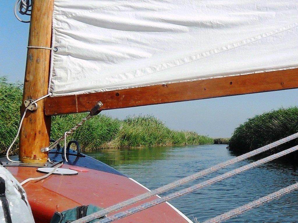 На яхте, с парусом, средь камышей, в каналах, Ачуевская коса... 011. 007