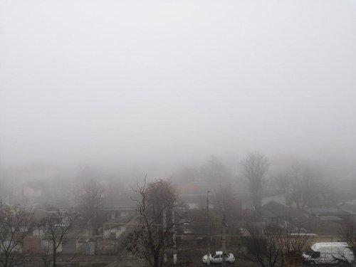 Туман в Симферополе.