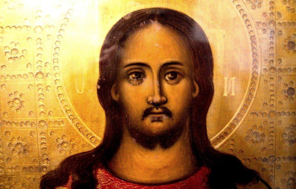 Лик Спасителя. Фрагмент иконы. Церковь Святителя Николая Чудотворца в Бейт-Джале.