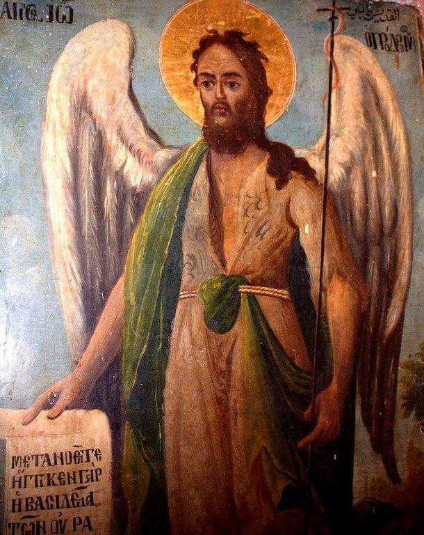 Святой Иоанн Предтеча Ангел пустыни. Икона в церкви Святого Николая в Бейт-Джале. Святой Иоанн Предтеча изображён с Ангельскими крыльями как великий подвижник и пустынножитель, своим житием уподобившийся Ангелам.