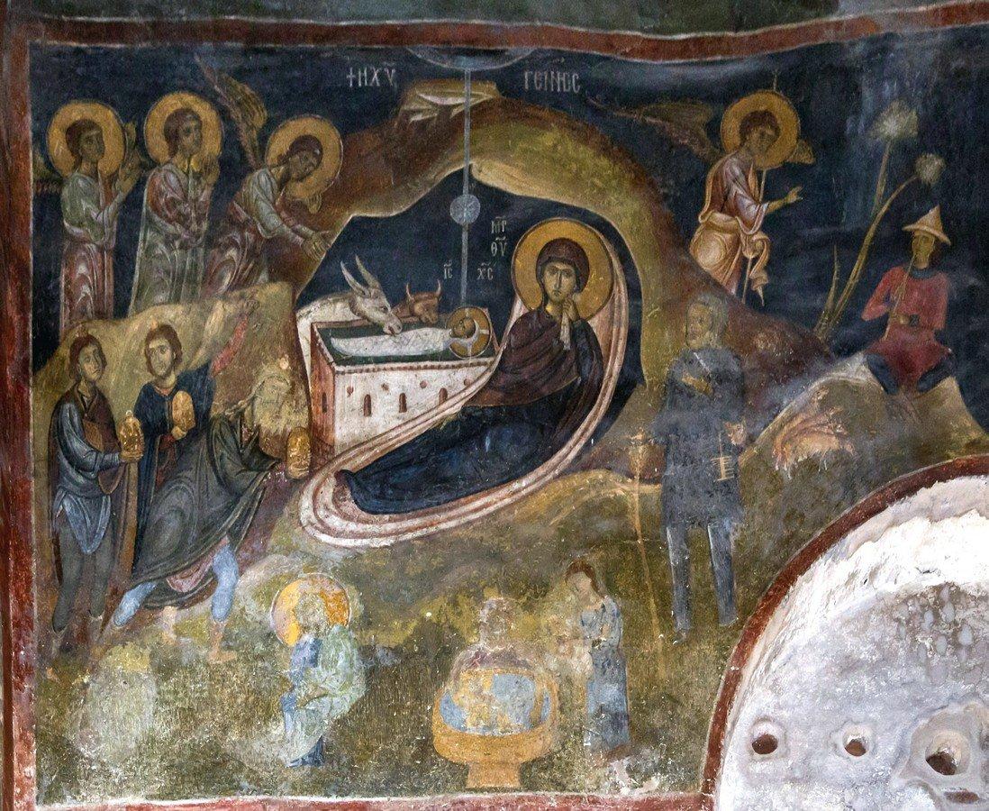 Рождество Христово. Фреска церкви Святого Стефана в Кастории, Греция. Конец XII - начало XIII века.