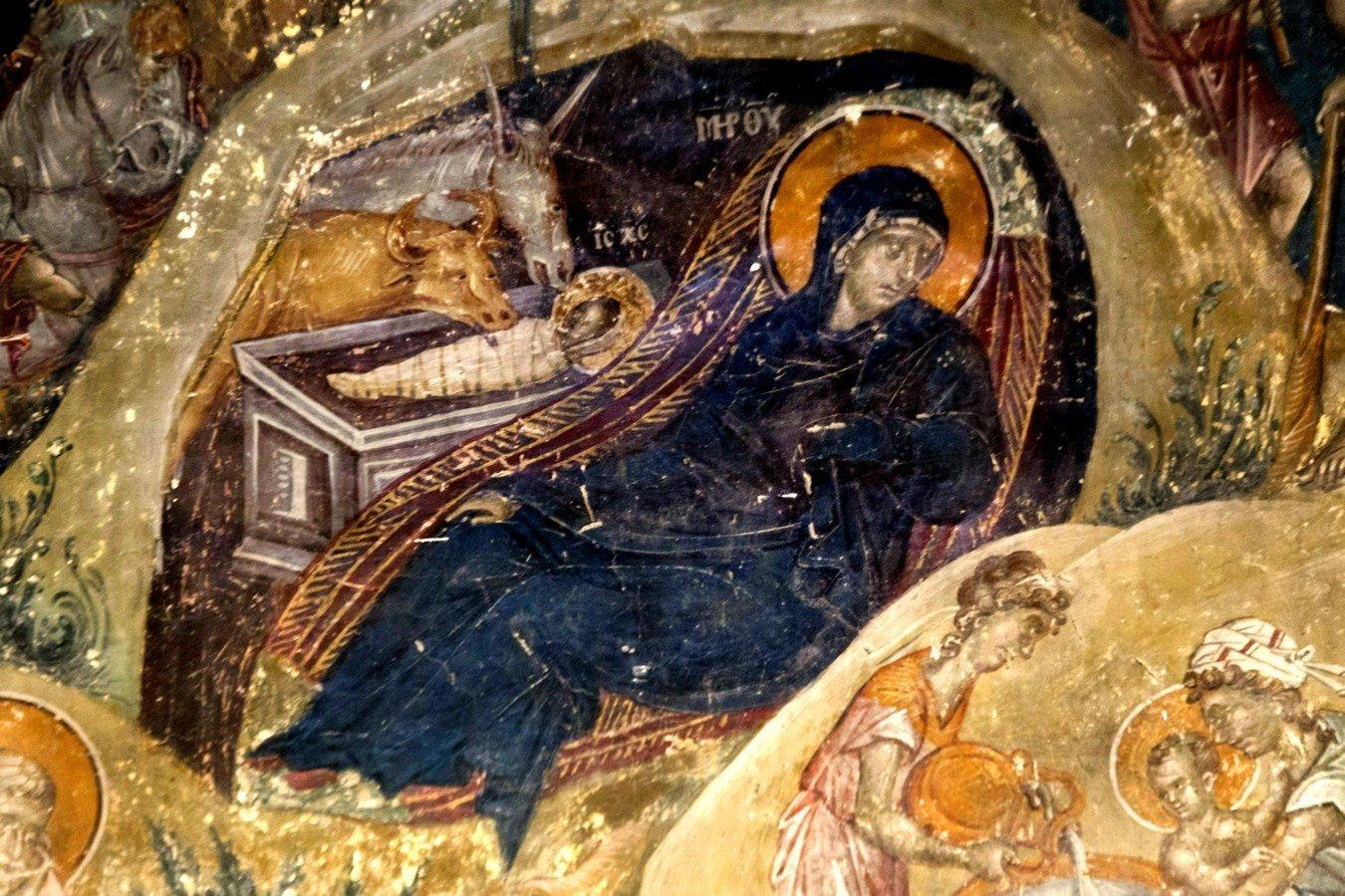 Рождество Христово. Фреска церкви Святого Николая Орфаноса в Салониках, Греция. 1310 - 1315 годы. Фрагмент.
