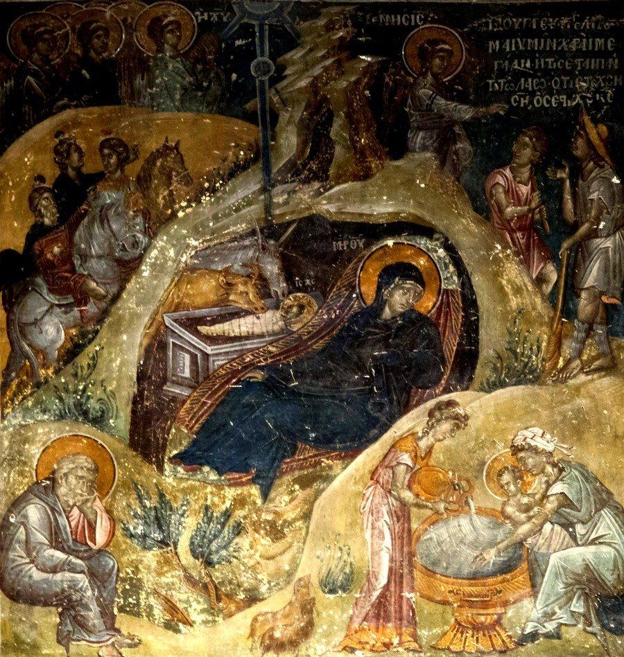 Рождество Христово. Фреска церкви Святого Николая Орфаноса в Салониках, Греция. 1310 - 1315 годы.