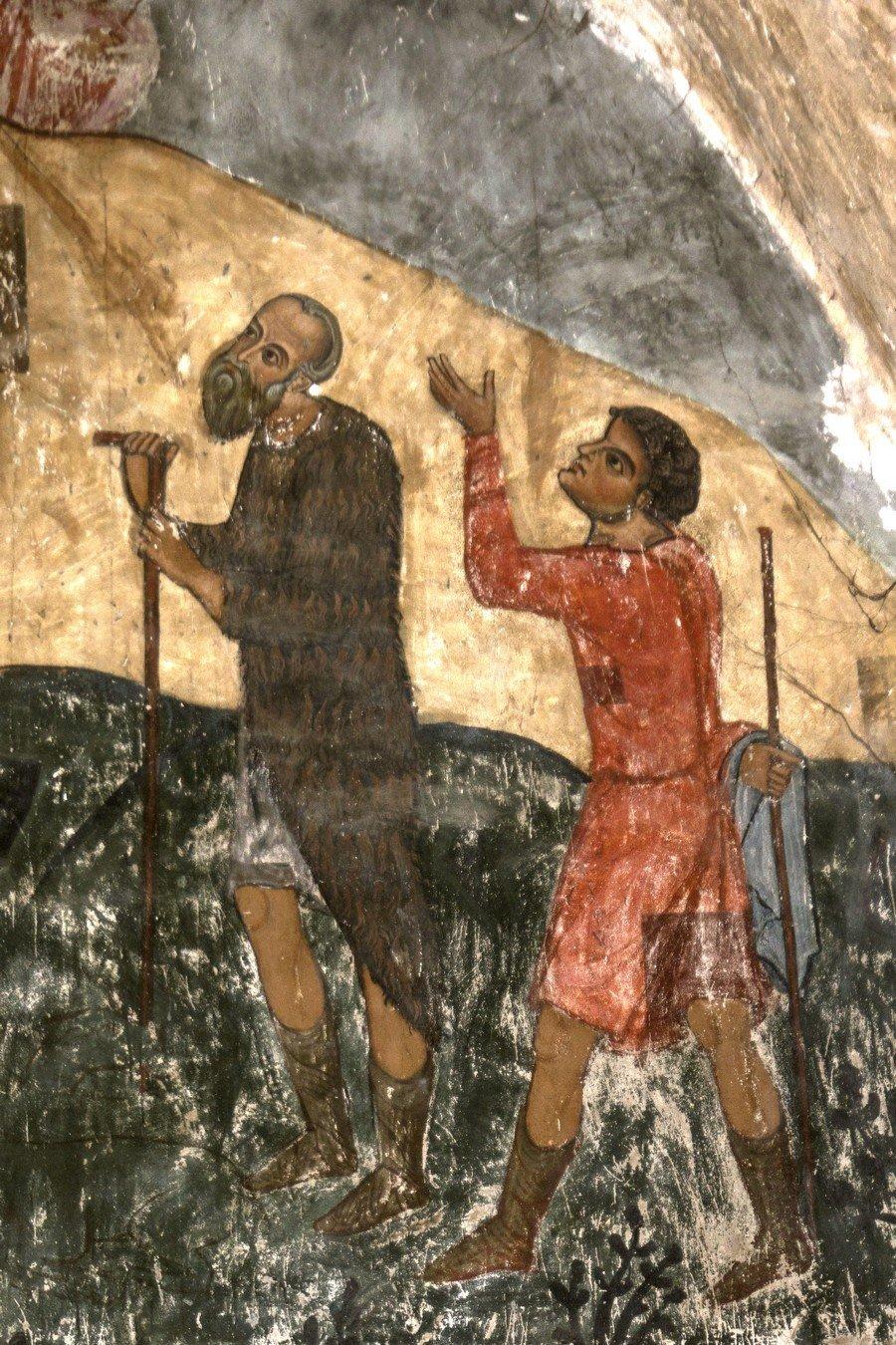 Рождество Христово. Фреска храма Святого Саввы в монастыре Сапара, Грузия. Начало XIV века. Фрагмент.
