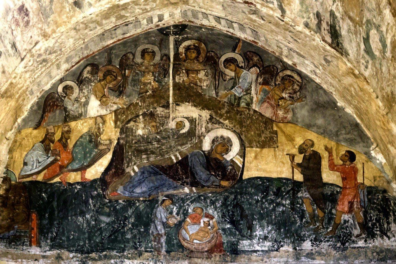 Рождество Христово. Фреска храма Святого Саввы в монастыре Сапара, Грузия. Начало XIV века.