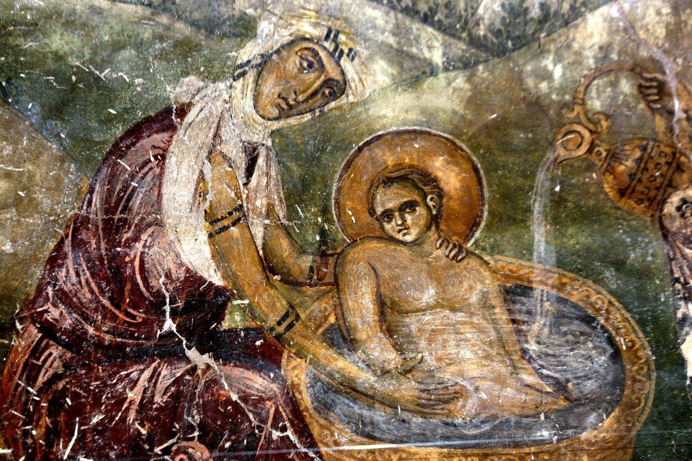 Рождество Христово. Фреска монастыря Латому (Осиос Давид) в Салониках, Греция. XII век. Фрагмент.