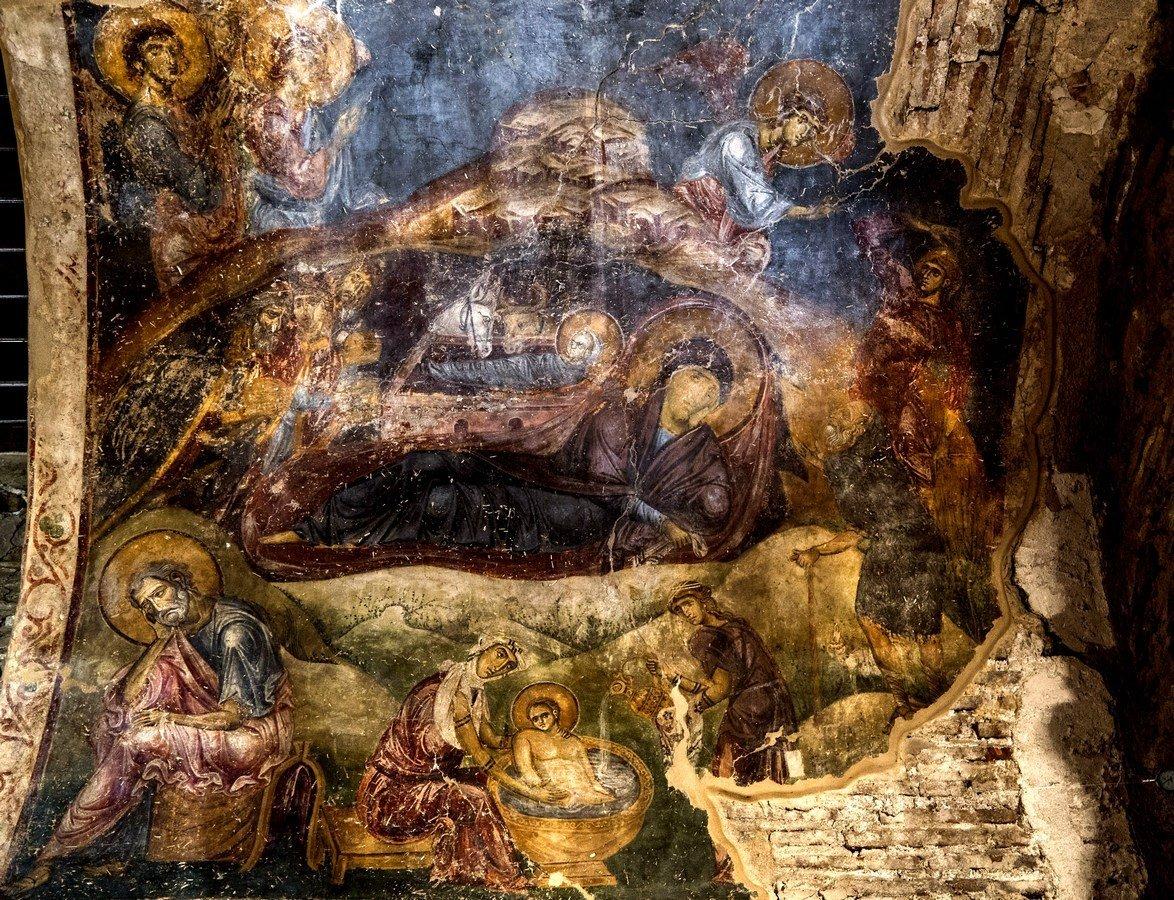 Рождество Христово. Фреска монастыря Латому (Осиос Давид) в Салониках, Греция. XII век.