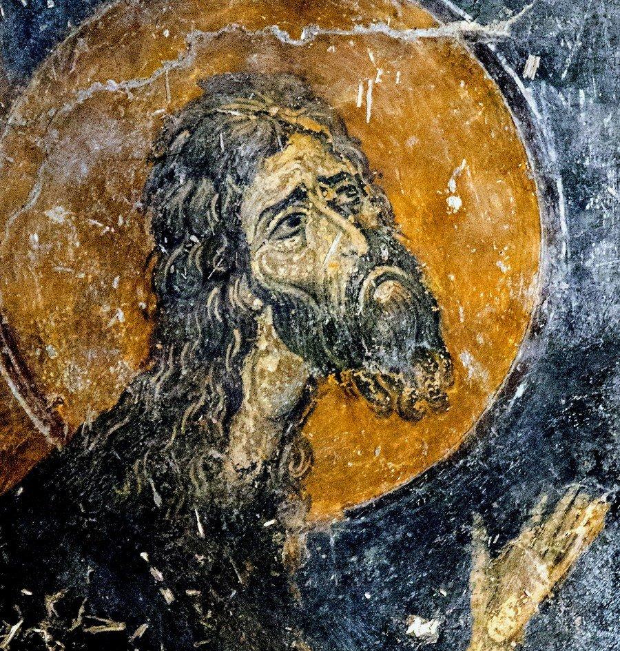 Крещение Господне. Фреска монастыря Латому (Осиос Давид) в Салониках, Греция. XII век. Фрагмент.
