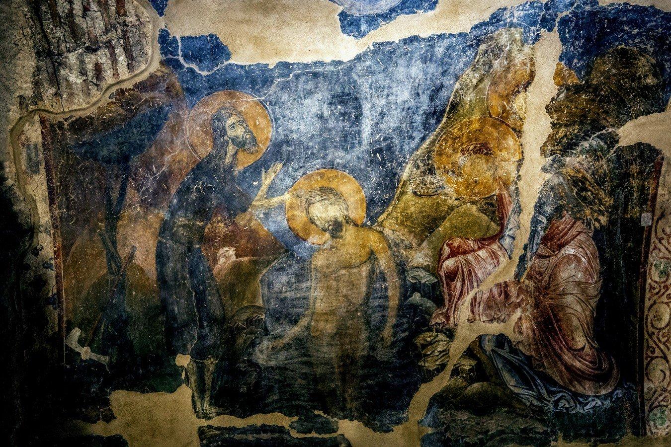 Крещение Господне. Фреска монастыря Латому (Осиос Давид) в Салониках, Греция. XII век.
