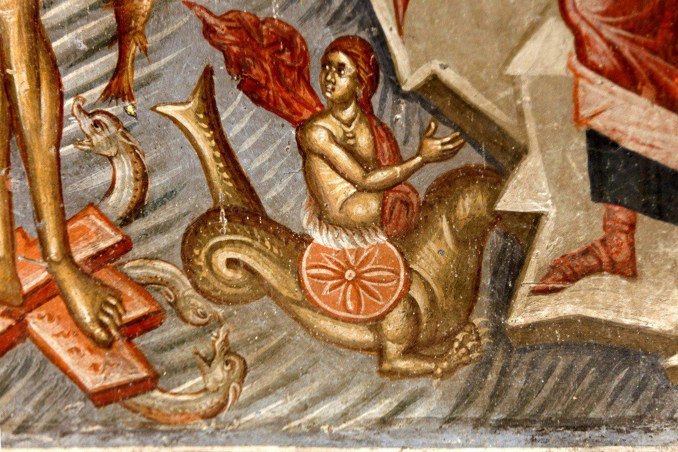 Крещение Господне. Фреска церкви Святого Афанасия ту Музаки в Кастории, Греция. 1383 - 1384 годы. Фрагмент. Персонификация моря.