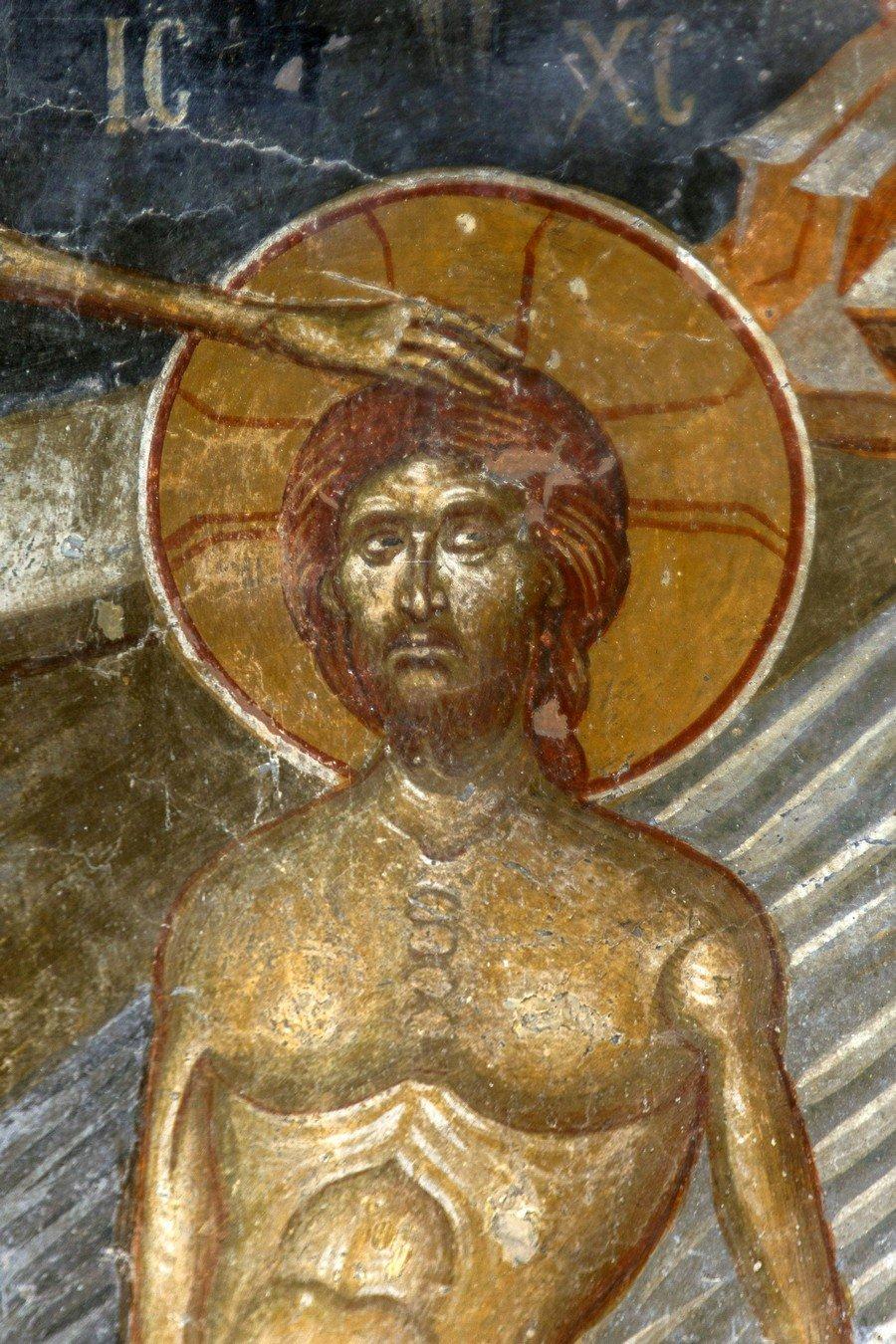 Крещение Господне. Фреска церкви Святого Афанасия ту Музаки в Кастории, Греция. 1383 - 1384 годы. Фрагмент.