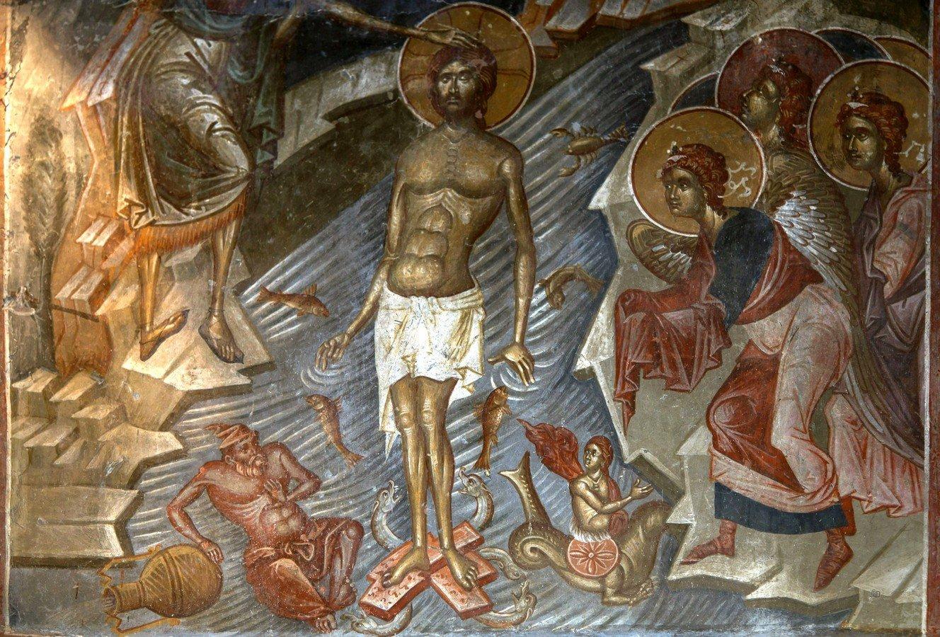 Крещение Господне. Фреска церкви Святого Афанасия ту Музаки в Кастории, Греция. 1383 - 1384 годы.