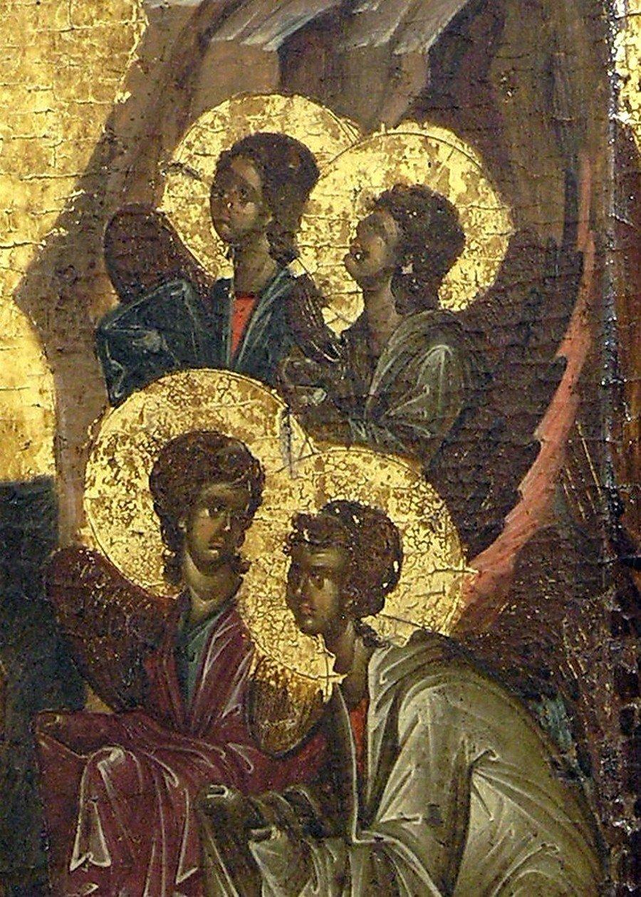 Крещение Господне. Икона. Византия, начало XIV века. Галерея икон в Охриде, Македония. Фрагмент.