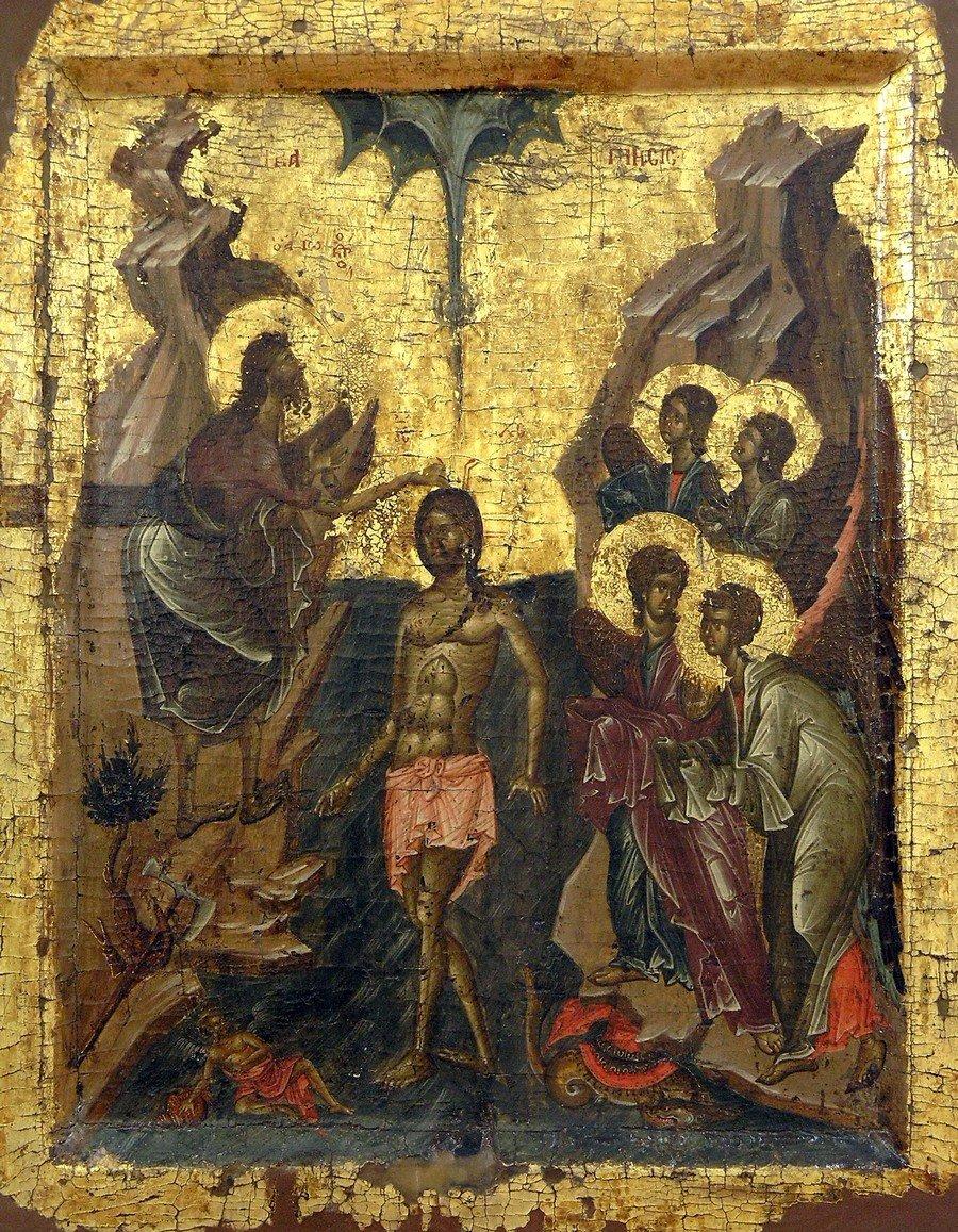 Крещение Господне. Икона. Византия, начало XIV века. Галерея икон в Охриде, Македония.