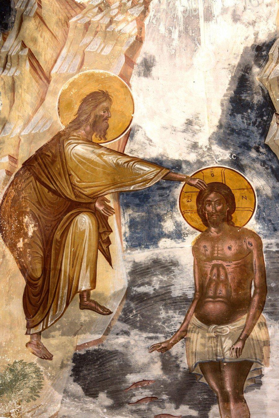Крещение Господне. Фреска церкви Святого Георгия в монастыре Гелати, Грузия. 1561 - 1578 годы. Фрагмент.