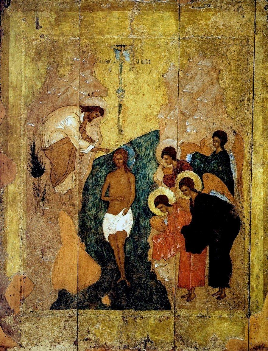 Крещение Господне. Икона. Тверь, XV век. ГРМ.