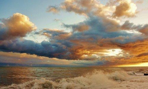 Закат, небо, море, облака