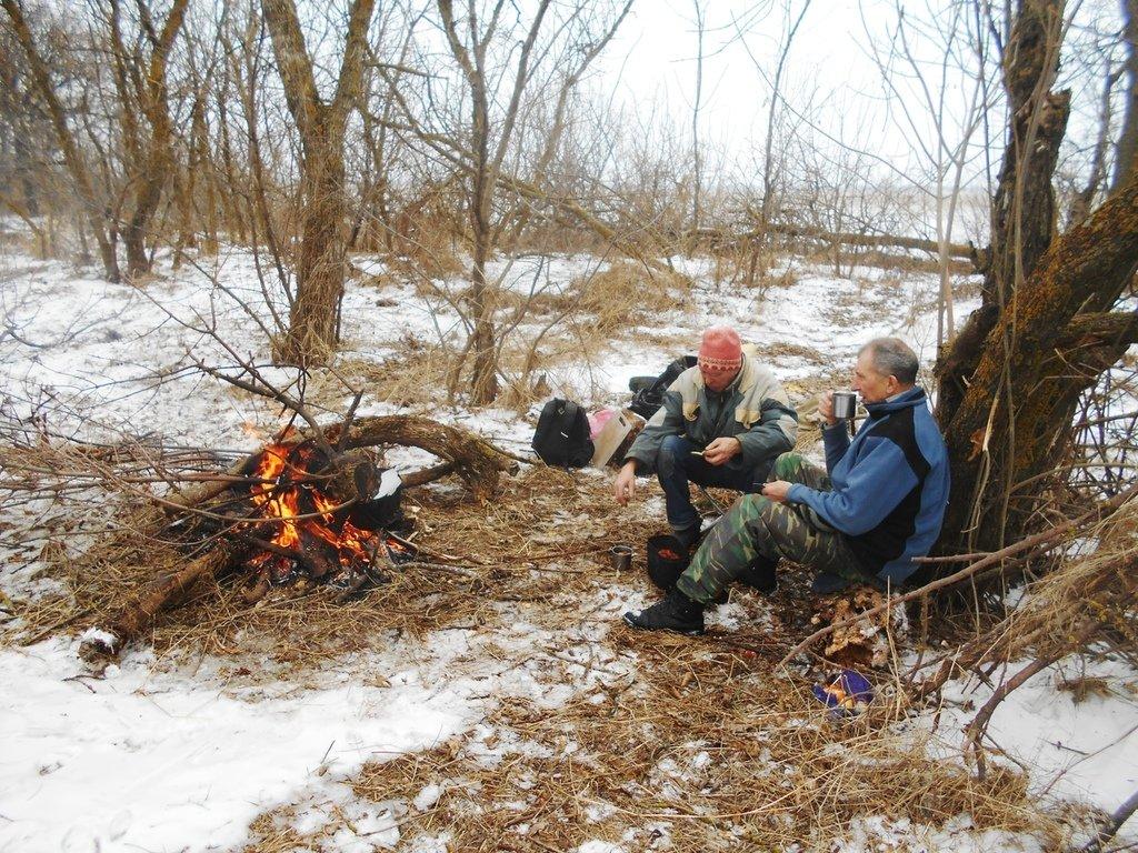 Туристы, у костра, В походе зимнем, Азовское побережье, туризм, февраль...003. 006
