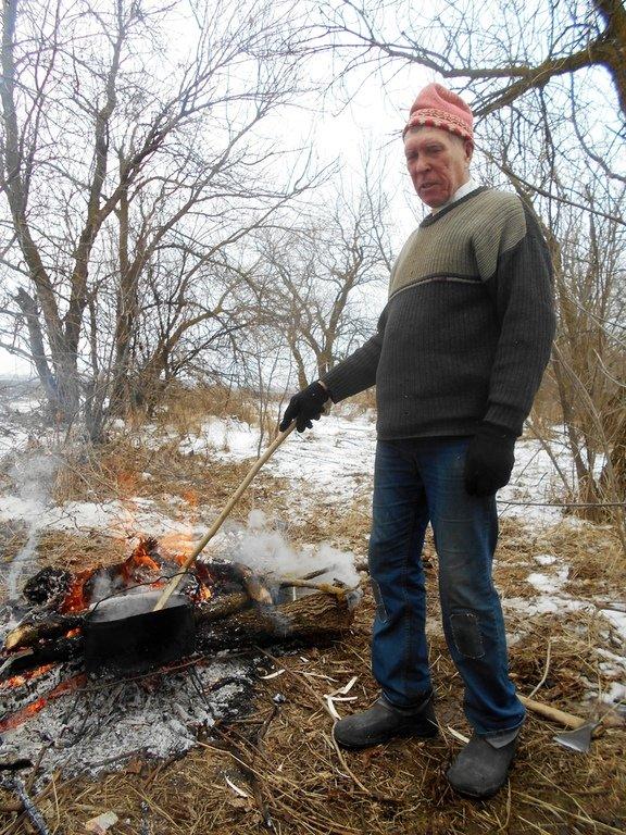 Турист, человек, В походе зимнем, Азовское побережье, туризм, февраль...003. 012