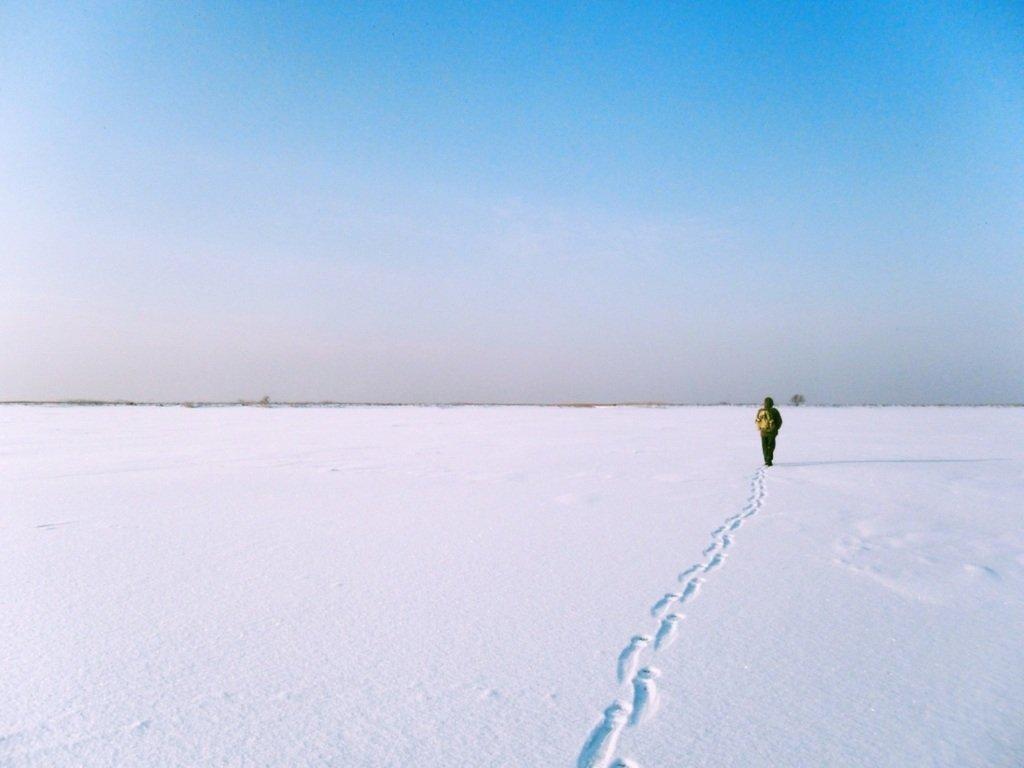 С рюкзаком, море заснеженное, на косу Ачуевскую... 002. 002