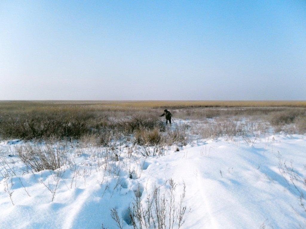 С рюкзаком, море заснеженное, на косу Ачуевскую... 002. 004