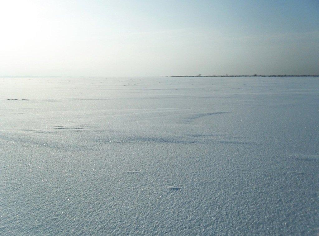 С рюкзаком, море заснеженное, на косу Ачуевскую... 002. 001