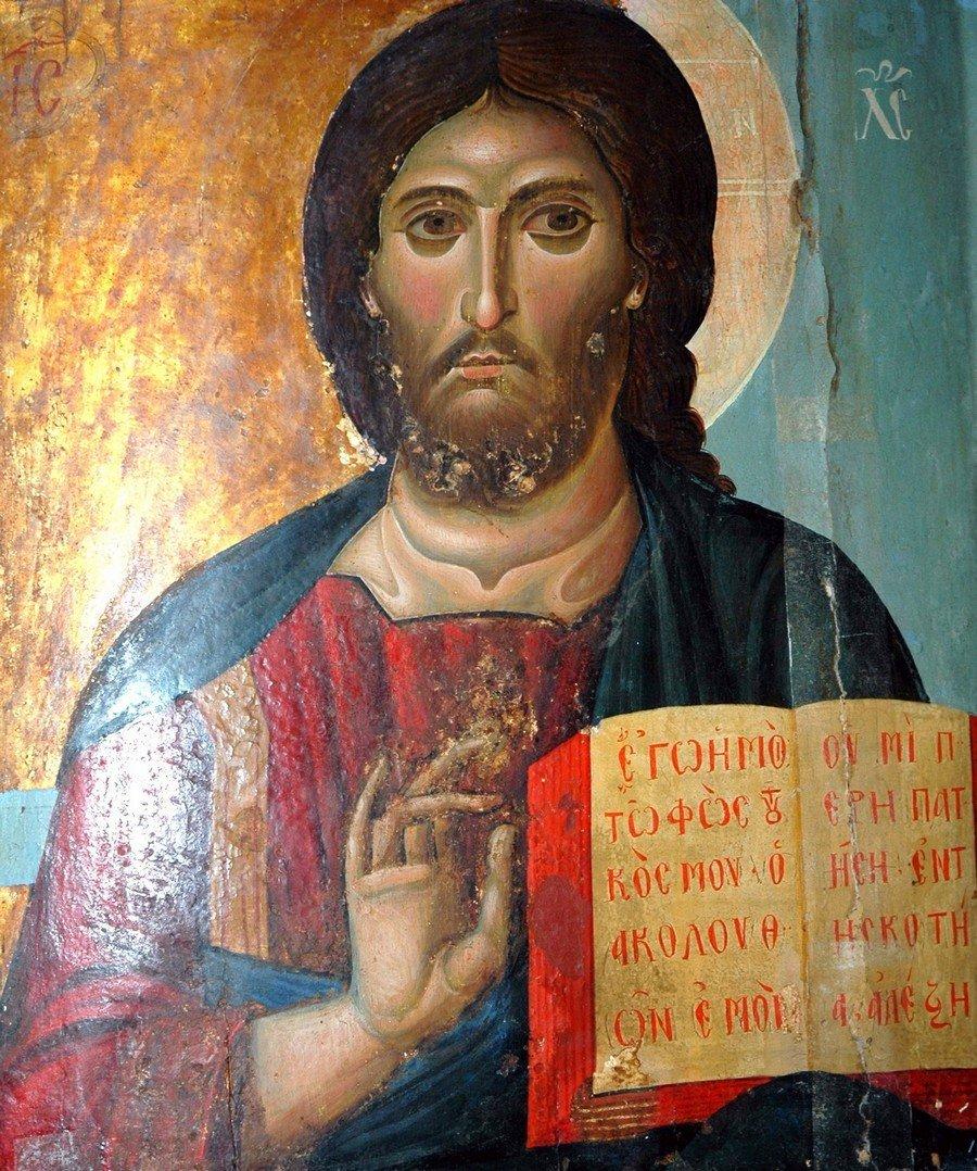 Христос Пантократор (Вседержитель). Византийская икона начала XIII века. Монастырь Святой Екатерины на Синае.
