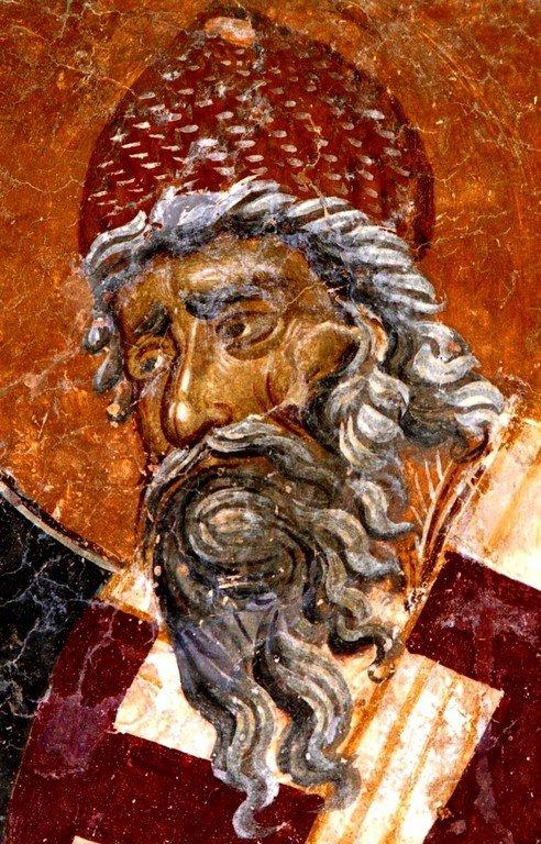 Святитель Спиридон, Епископ Тримифунтский, Чудотворец. Фреска церкви Святого Димитрия в Марковом монастыре близ Скопье, Македония. Около 1376 года.