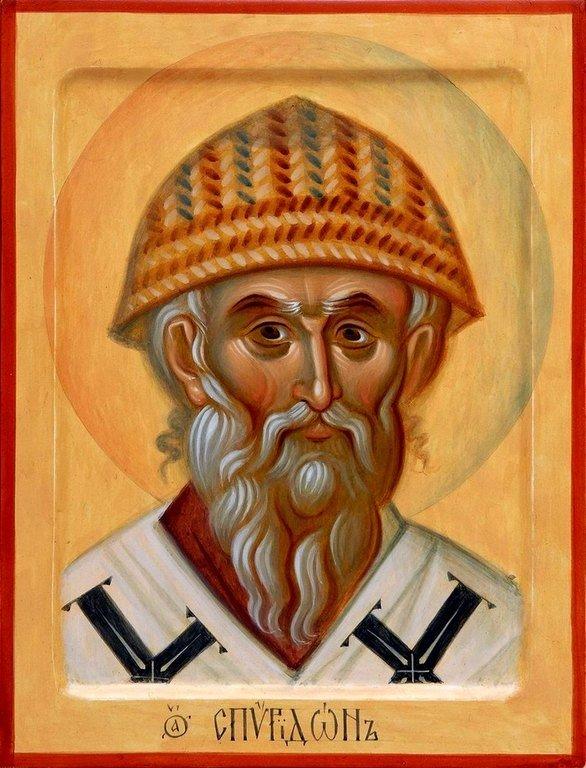 Святитель Спиридон, Епископ Тримифунтский, Чудотворец. Современная икона.