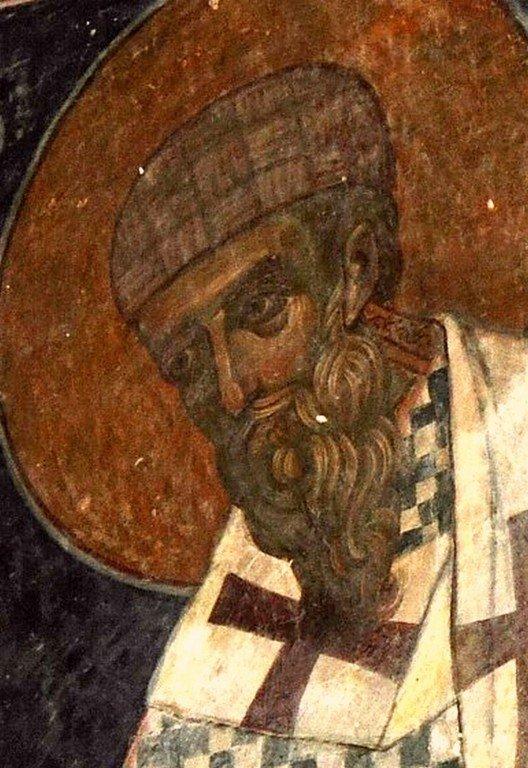 Святитель Спиридон, Епископ Тримифунтский, Чудотворец. Фреска монастыря Зарзма, Грузия. Середина XIV века.