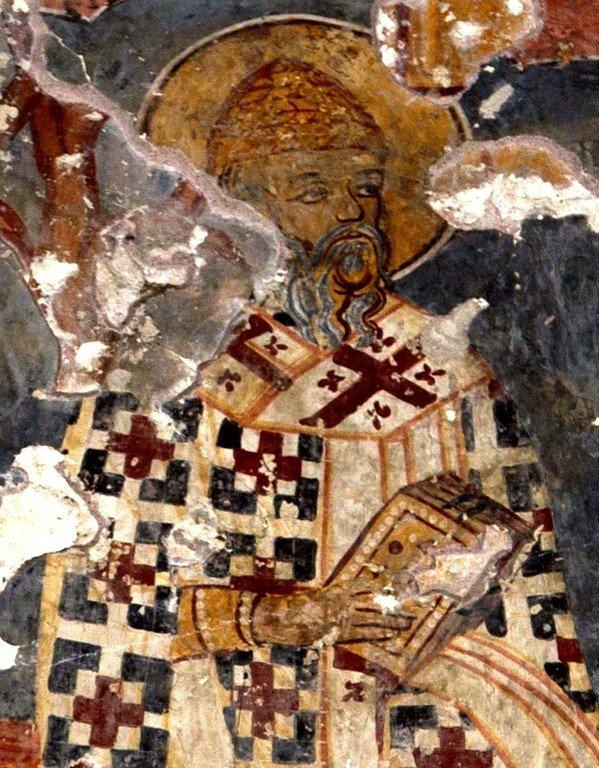 Святитель Спиридон, Епископ Тримифунтский, Чудотворец. Фреска монастыря Мартвили, Грузия. XVII век.