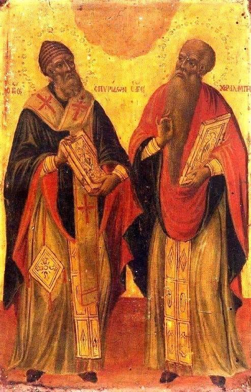 Святитель Спиридон, Епископ Тримифунтский, Чудотворец, и Священномученик Харалампий, Епископ Магнезийский. Старинная греческая икона.