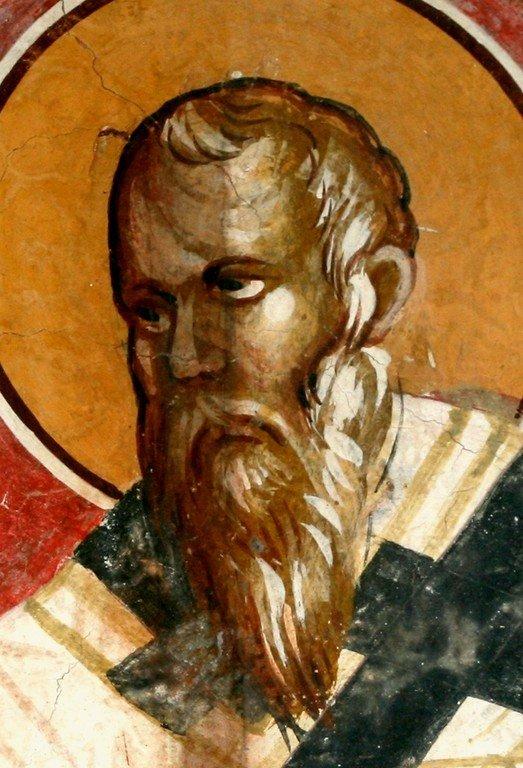 Святитель Спиридон, Епископ Тримифунтский, Чудотворец. Фреска церкви Богоматери Одигитрии в монастыре Печская Патриархия, Косово, Сербия. XIV век.