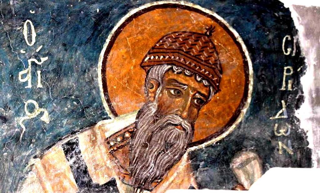 Святитель Спиридон, Епископ Тримифунтский, Чудотворец. Фреска церкви Честного Креста в Пелендри на Кипре. XIV век.