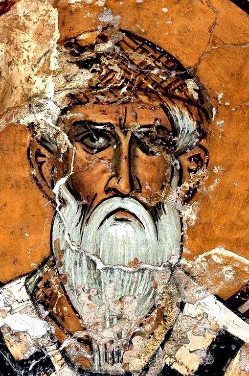 Святитель Спиридон, Епископ Тримифунтский, Чудотворец. Фреска церкви Панагии Асину (Панагии Форвиотиссы) близ Никитари на Кипре. 1105 - 1106 годы.