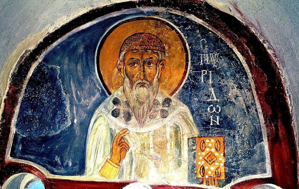 Святитель Спиридон, Епископ Тримифунтский, Чудотворец. Фреска монастыря Панагии Амасгу близ деревни Монагри на Кипре. XI век.