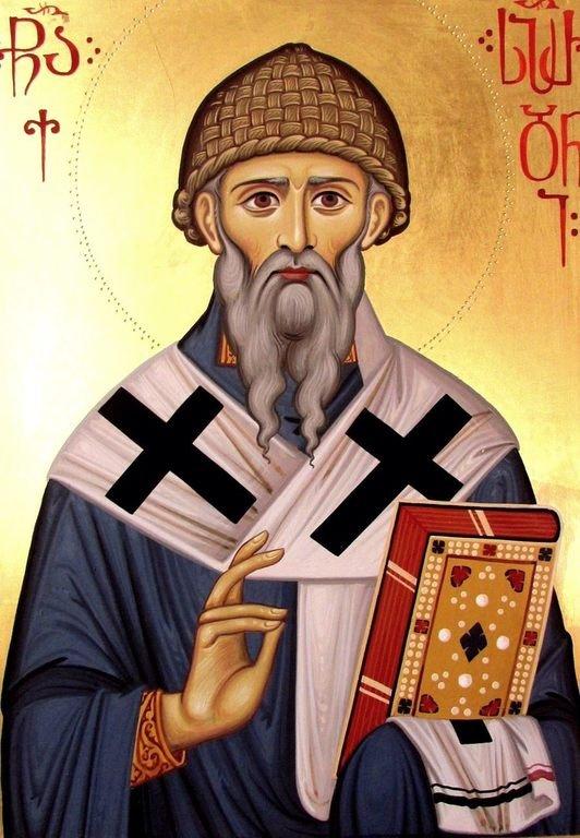 Святитель Спиридон, Епископ Тримифунтский, Чудотворец. Современная грузинская икона.