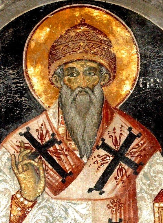 Святитель Спиридон, Епископ Тримифунтский, Чудотворец. Фреска монастыря Святой Марины в Албании.