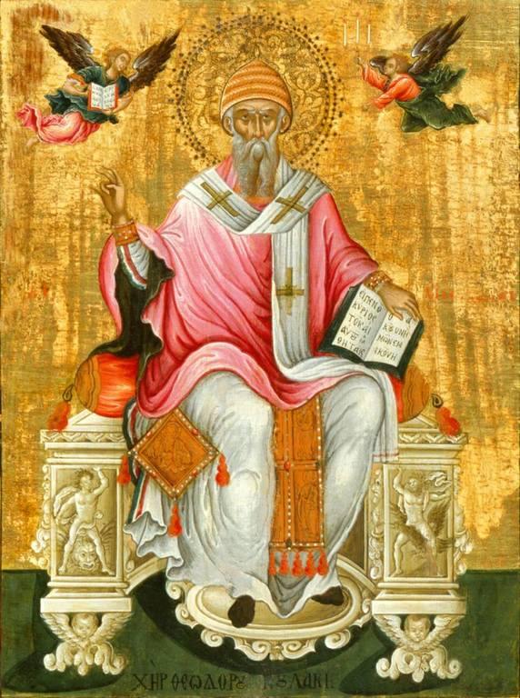 Святитель Спиридон, Епископ Тримифунтский, Чудотворец. Икона. Греция, вторая половина XVII века. Иконописец Феодорос Пулакис.