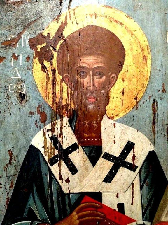 Святитель Спиридон, Епископ Тримифунтский, Чудотворец. Фрагмент иконы. Остров Тинос, Греция.