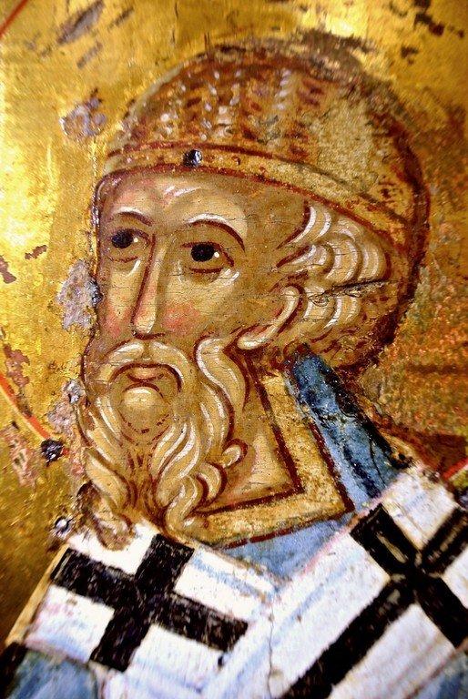 Святитель Спиридон, Епископ Тримифунтский, Чудотворец. Фрагмент новгородской иконы XV века.