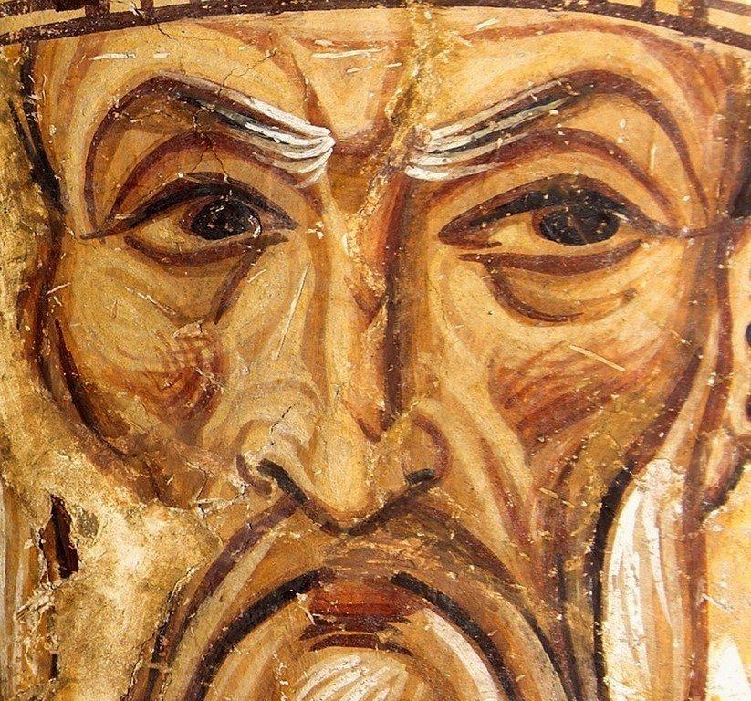 Святитель Спиридон, Епископ Тримифунтский, Чудотворец. Фреска церкви Святого Пантелеимона в Нерези, Македония. 1164 год.