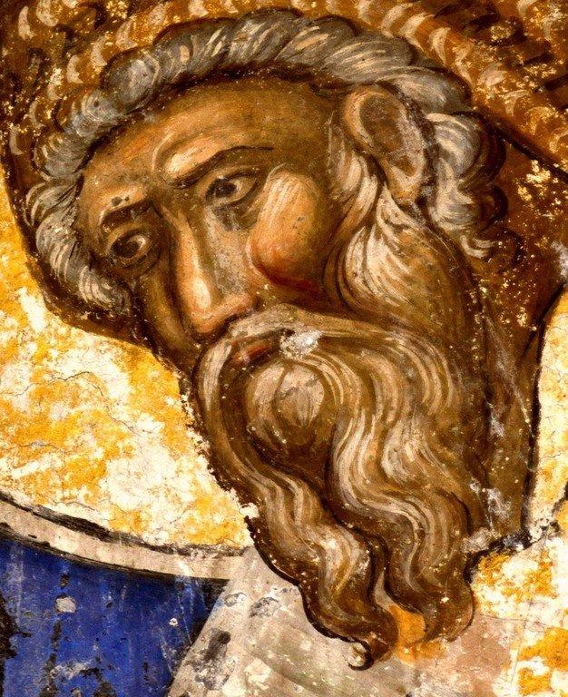 Святитель Спиридон, Епископ Тримифунтский, Чудотворец. Фреска церкви Святой Троицы в монастыре Манасия (Ресава), Сербия. До 1418 года.