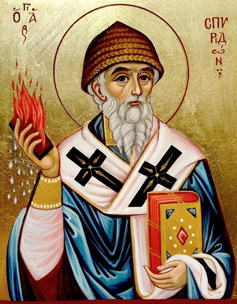Святитель Спиридон, Епископ Тримифунтский, Чудотворец. Иконописец Евгения Сальникова.