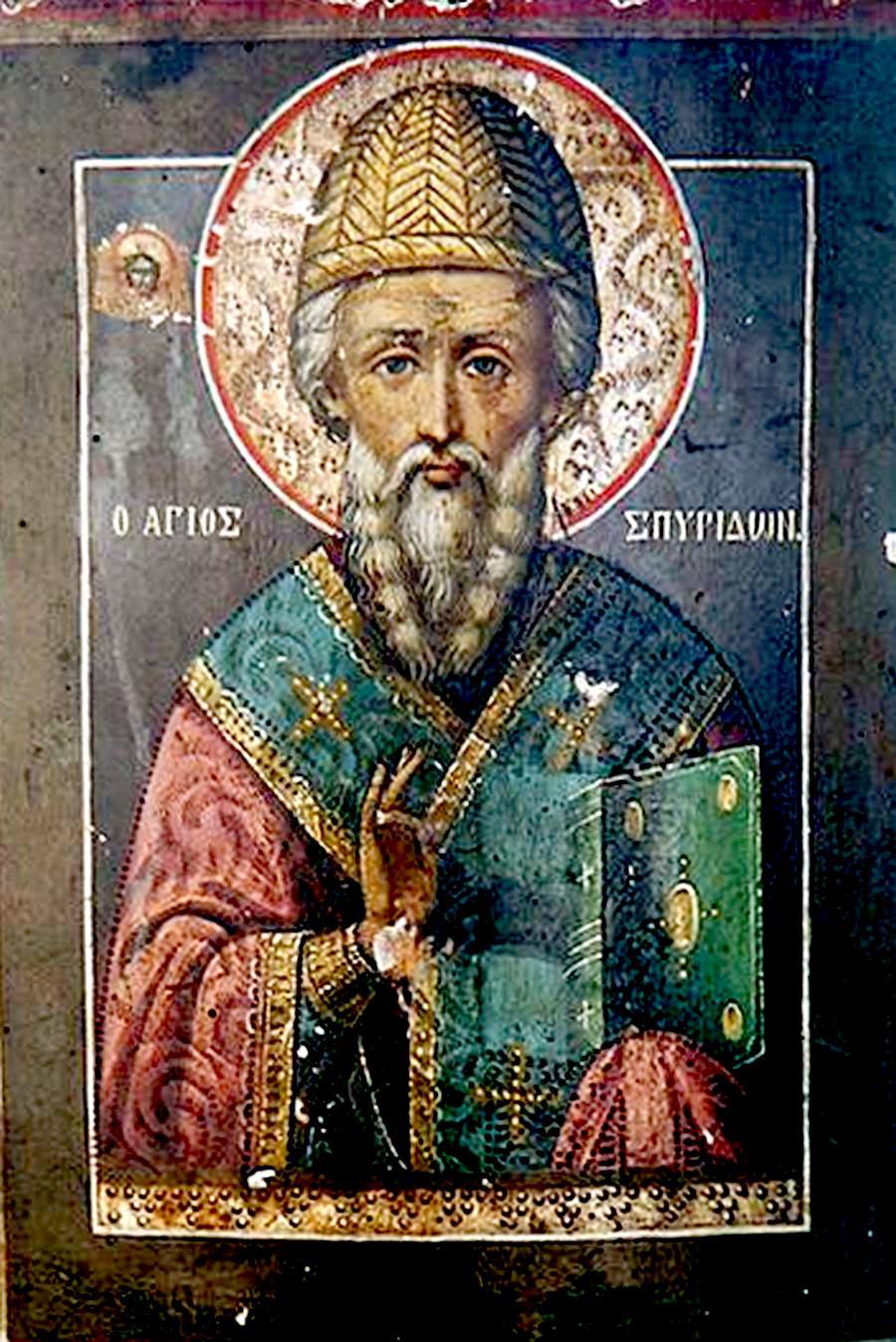 Святитель Спиридон, Епископ Тримифунтский, Чудотворец. Икона происходит из церкви Святой Параскевы в Лангадасе, Греция.