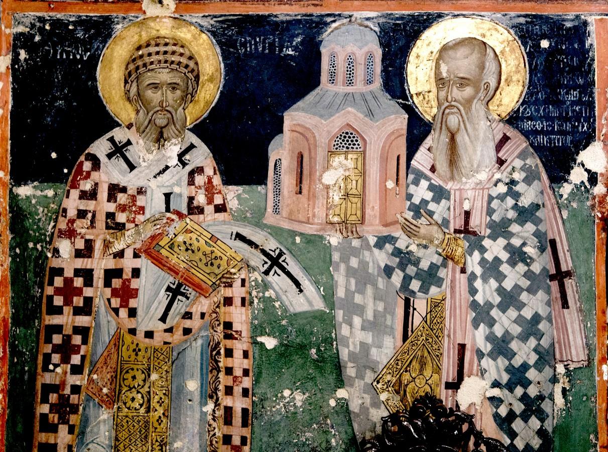Святитель Спиридон, Епископ Тримифунтский, Чудотворец, с предстоящим ктитором. Фреска монастыря Святого Иоанна Предтечи близ Серр, Греция.
