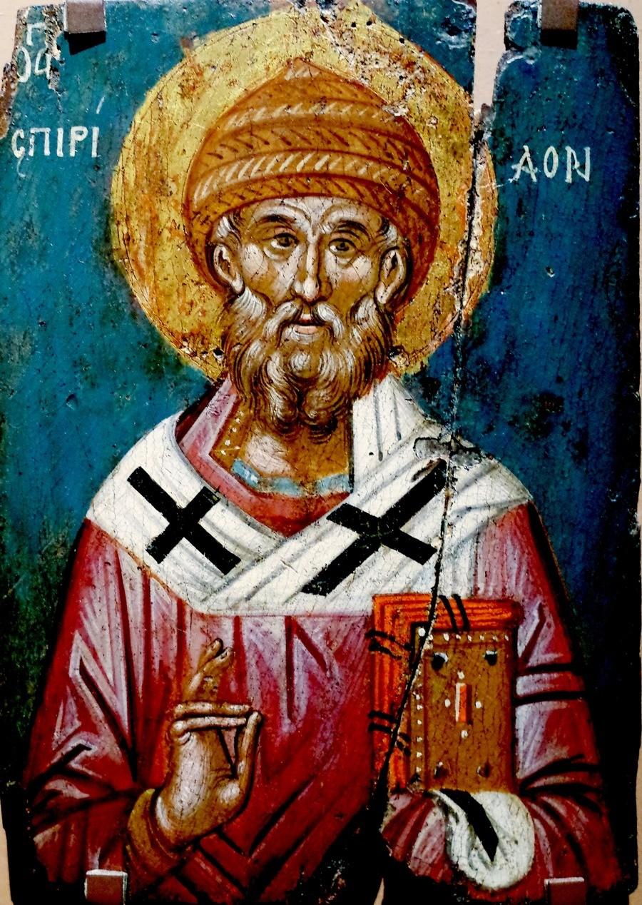 Святитель Спиридон, Епископ Тримифунтский, Чудотворец. Греческая икона XVI века. Византийский музей в Салониках, Греция.