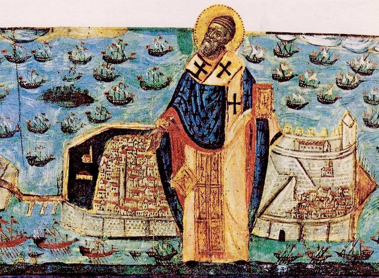 Святитель Спиридон, Епископ Тримифунтский, Чудотворец, спасает Керкиру от агарян.
